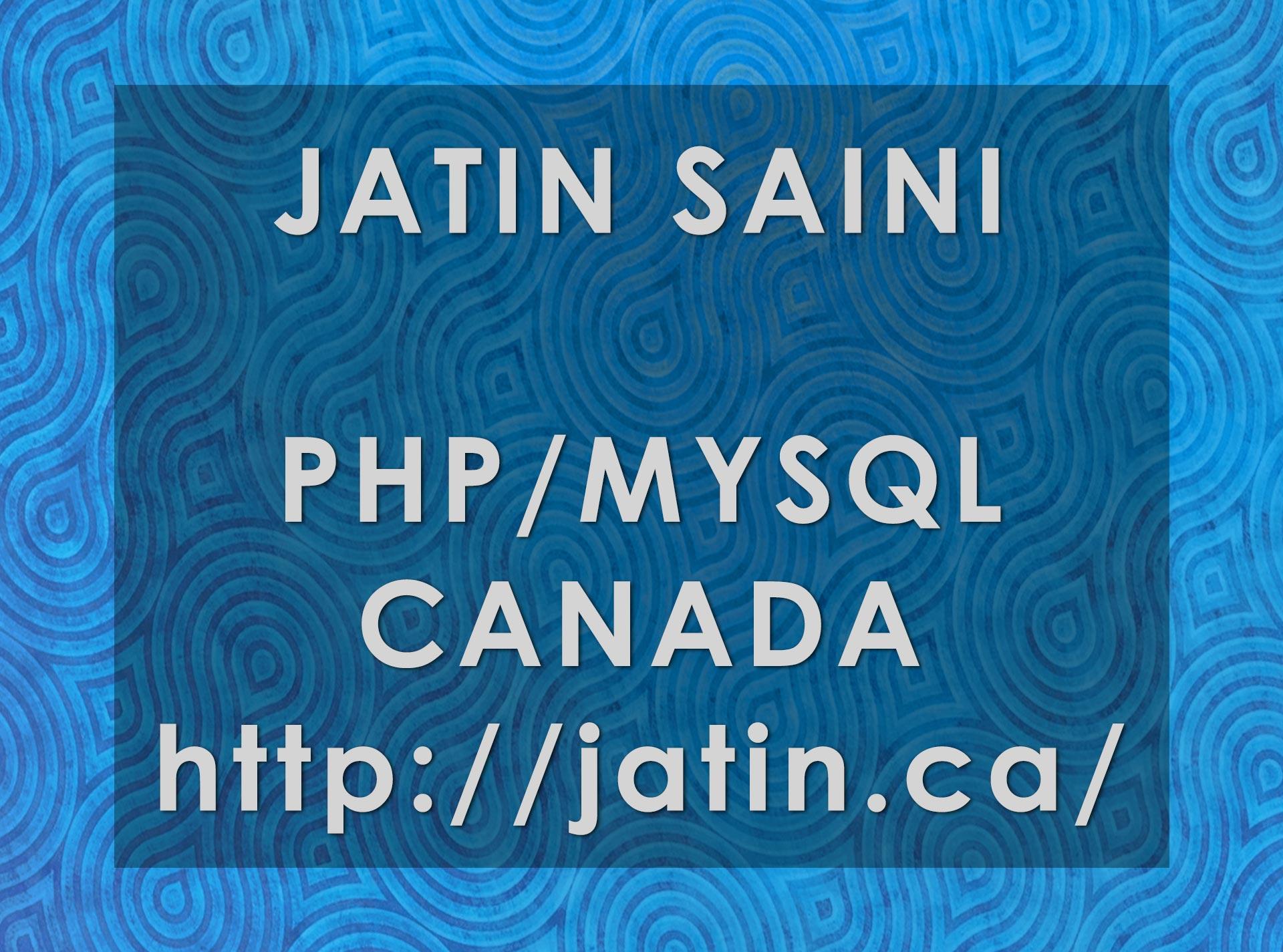 Jatin Saini Canadian Programmer